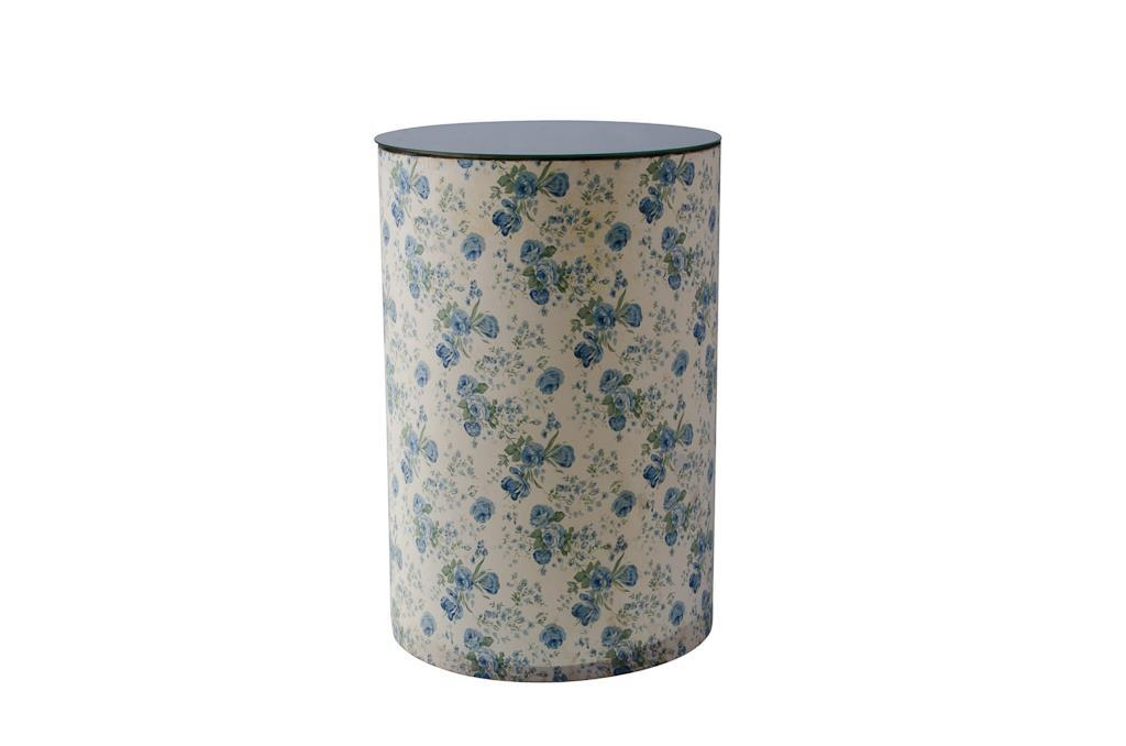 Tamborete Branco com Flor Azul - 3328