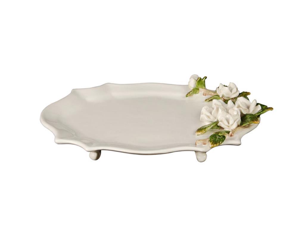 Travessa De Porcelana Branca Com Rosas