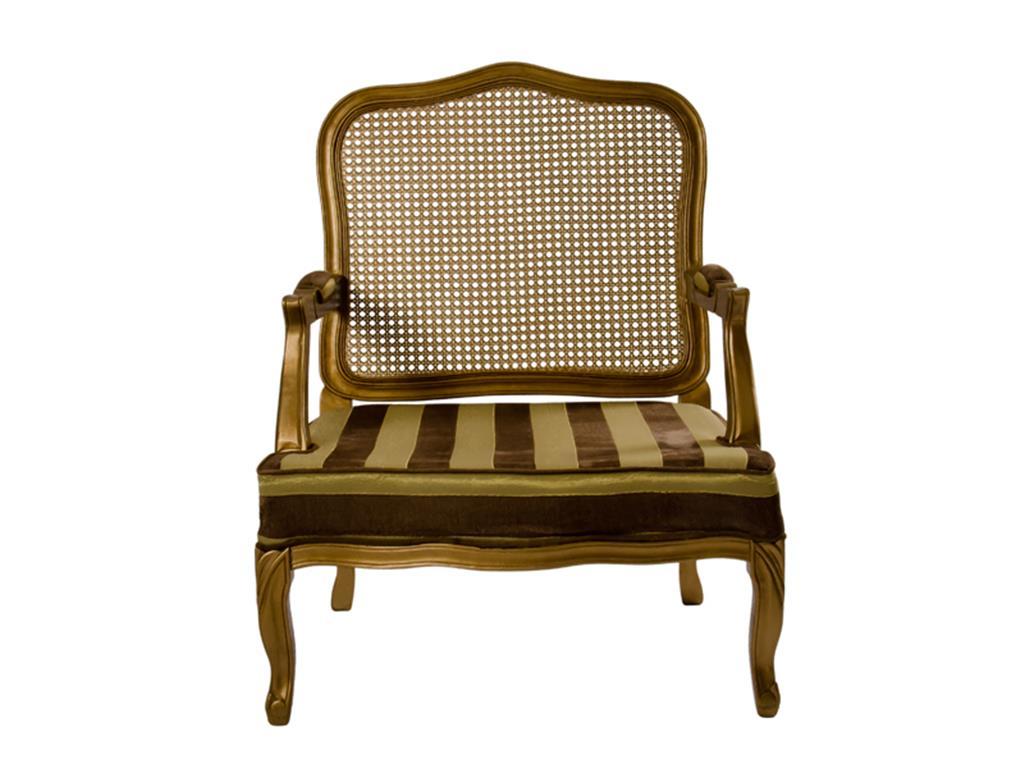 Poltrona Clássica Dourada com Assento Listrado - 0014