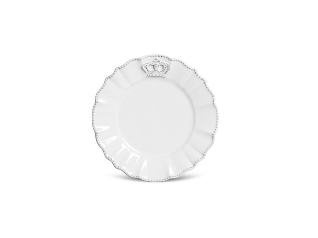 Prato De Sobremesa Branco Coroa Windsor - 5075