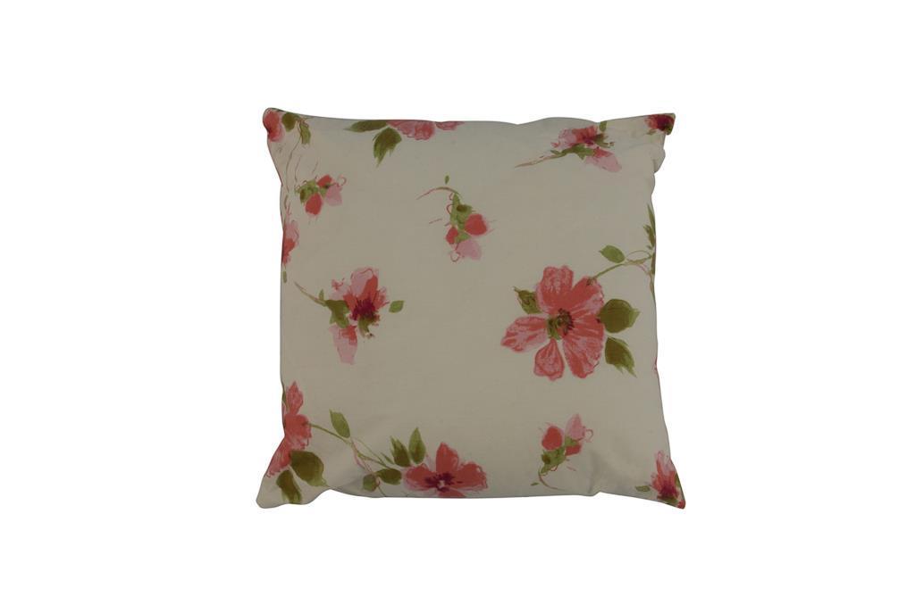 Almofada branca pequena com flores - 3285