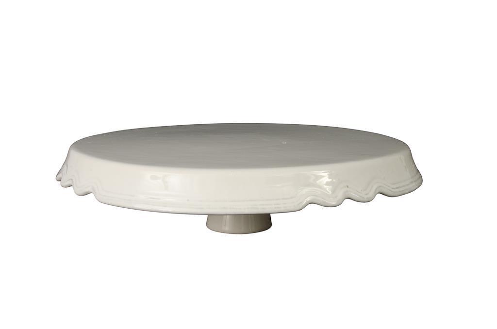 Porcelana para Doce  Redonda Babado na Borda com Pé - 3249
