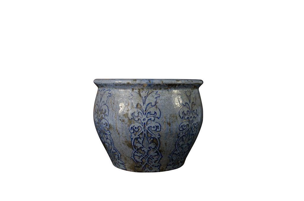 Vaso de Cerâmica Azul Redondo Baixo - 0183