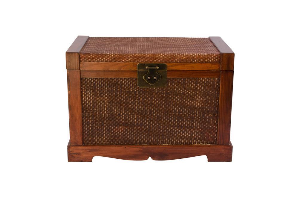 Baú de madeira e rattan - 0179