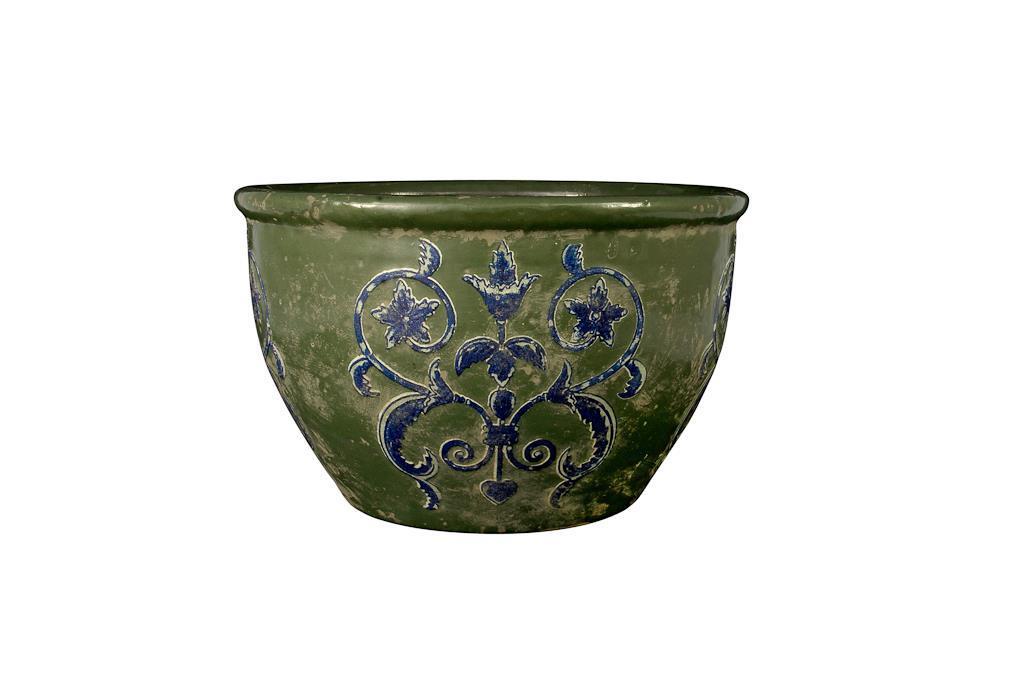 Vaso de Cerâmica Verde & Azul Redondo Baixo - 3256