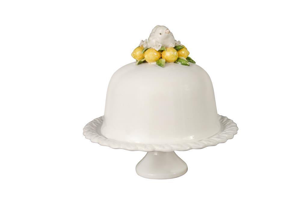 Boleira De Porcelana Branca Com Tampa De Passaro E Limão Siciliano - 2972