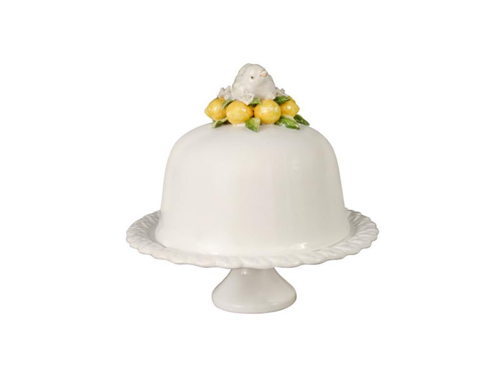 Boleira de porcelana branca com tampa de pássaro e limão siciliano