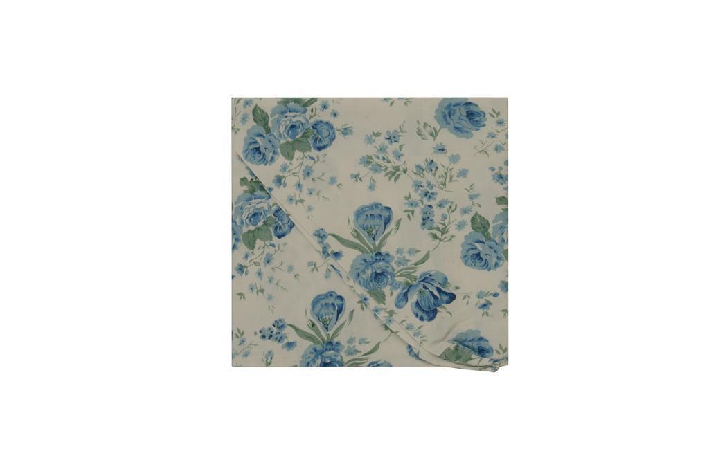 Capa para Puff Branco com Rosas azuis - 3271