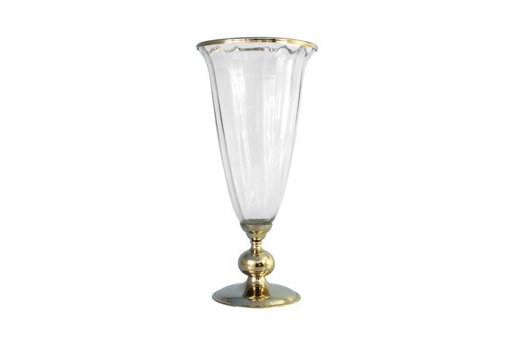 Vaso de Vidro com Base em Alumínio - 0236