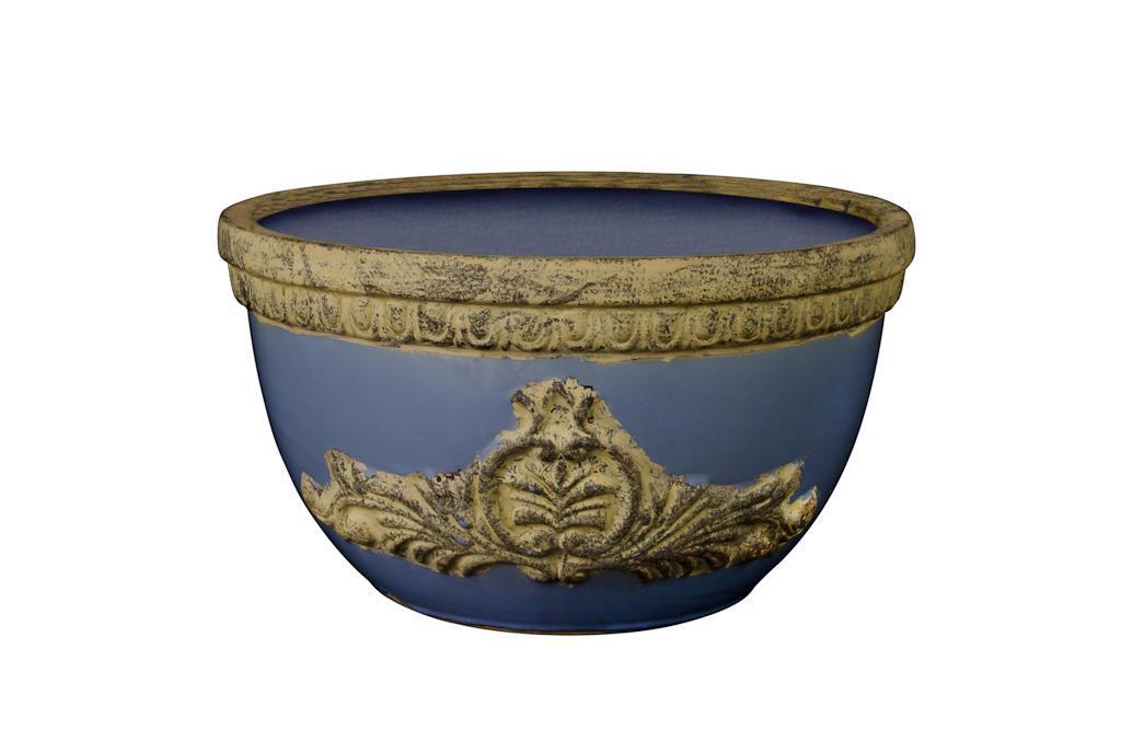 Vaso de Cerâmica Azul Royal Baixo - 0184