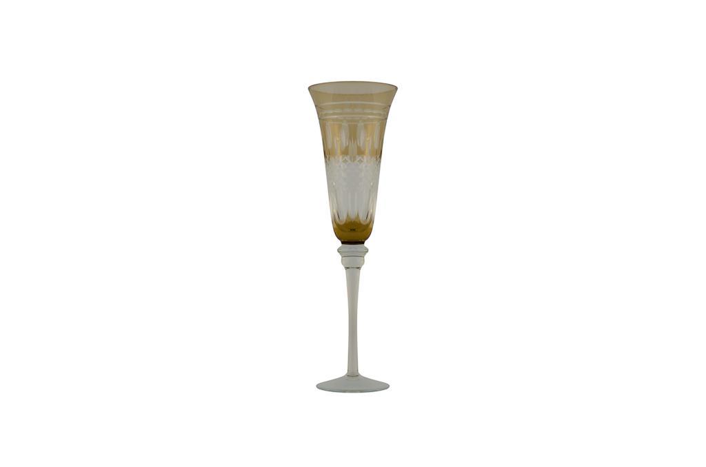 546 - Taça De Champagne - Ambar Lapidada - 150 Ml - 0535 - g16